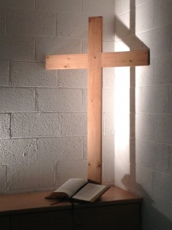 Cross made from Sunday School benches - Winton Baptist Church